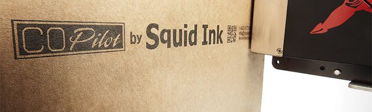 Squid Ink CoPilot barcode and 2d code printer on boxes, cases and cartons.