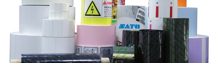 Sato printer labels and printer ribbon.