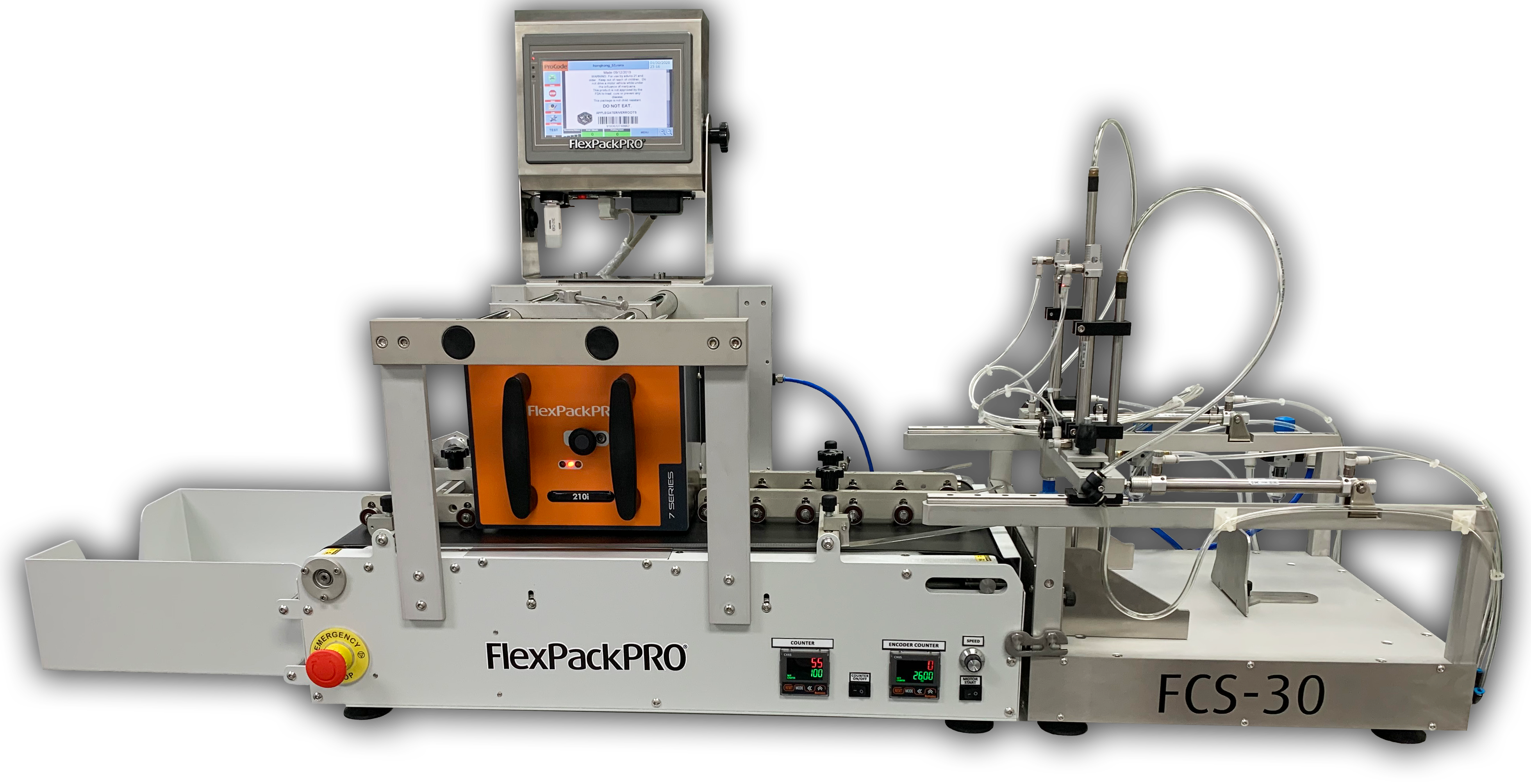 Pick and place feeder for pouch and bag printer