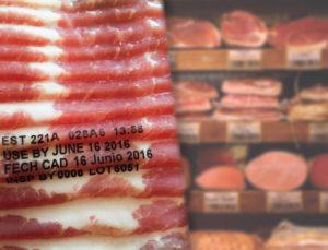 FlexPackPRO TTO print sample on vacuum pack meat